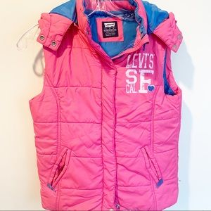 Levi's Girls Quilted Puffer Vest Pink Sz L SF Logo